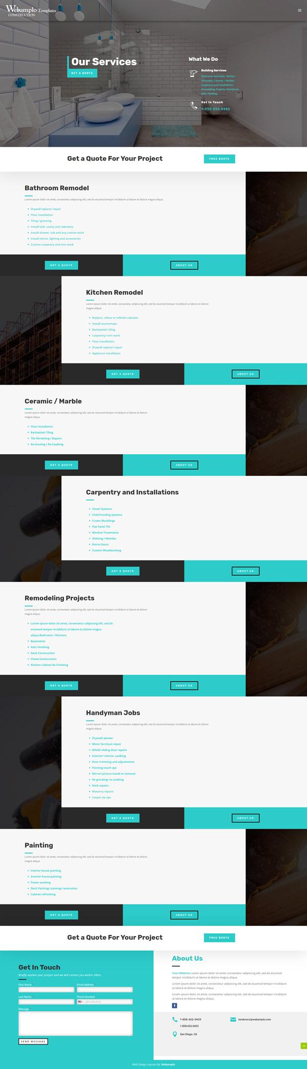 Construction Website Design About