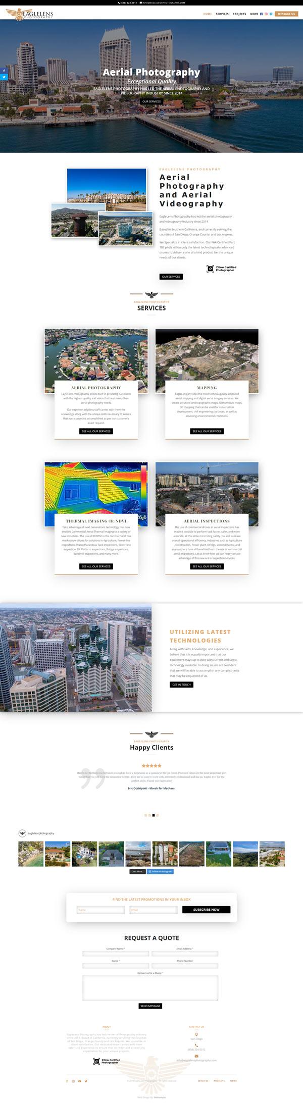 Eagle Lens Photography & Spa Web Design Home Page