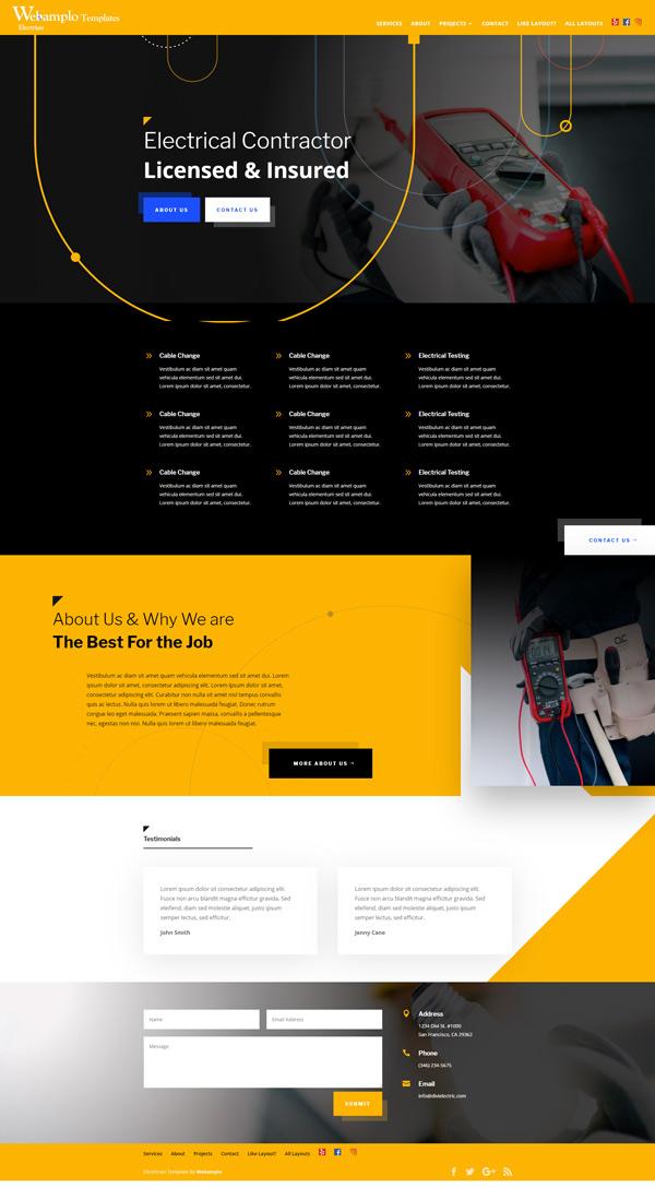 Electrician Template Website Home