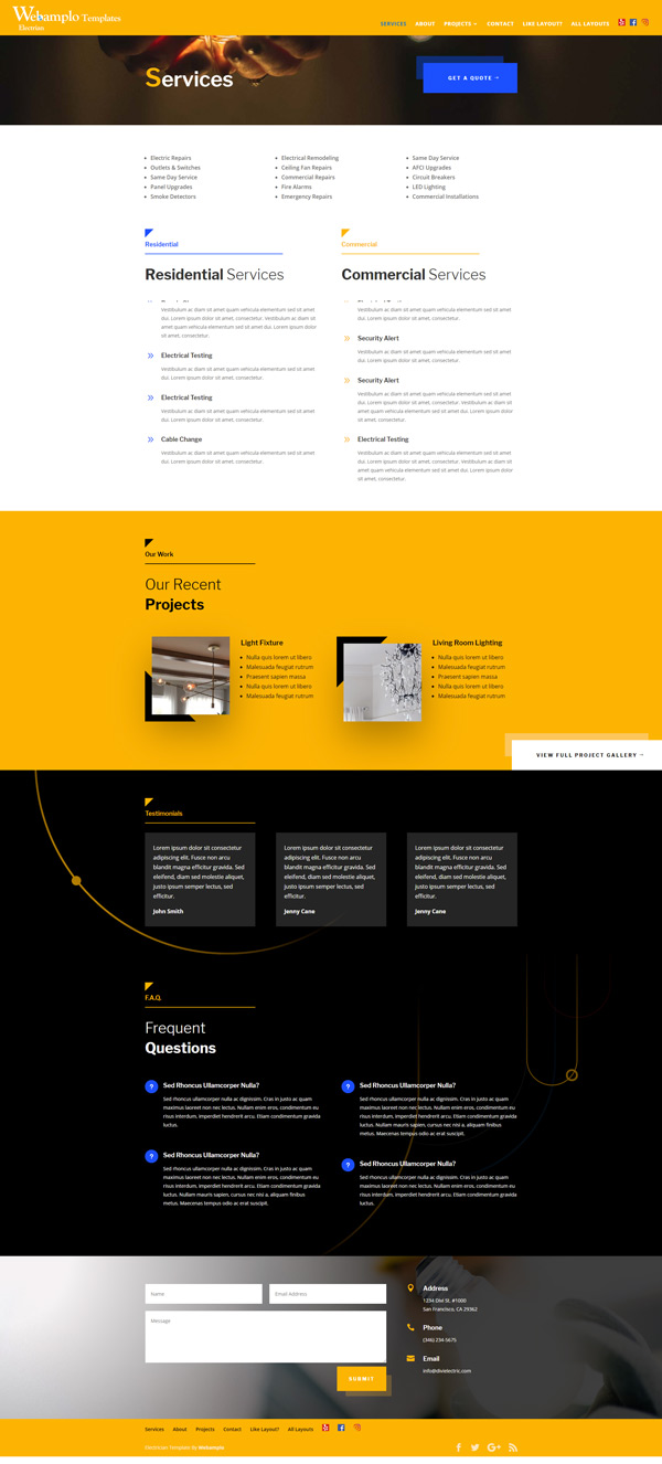 Electrician Template Website Services