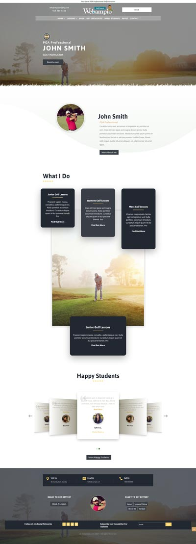 Golf Professional Home Page V2 Design