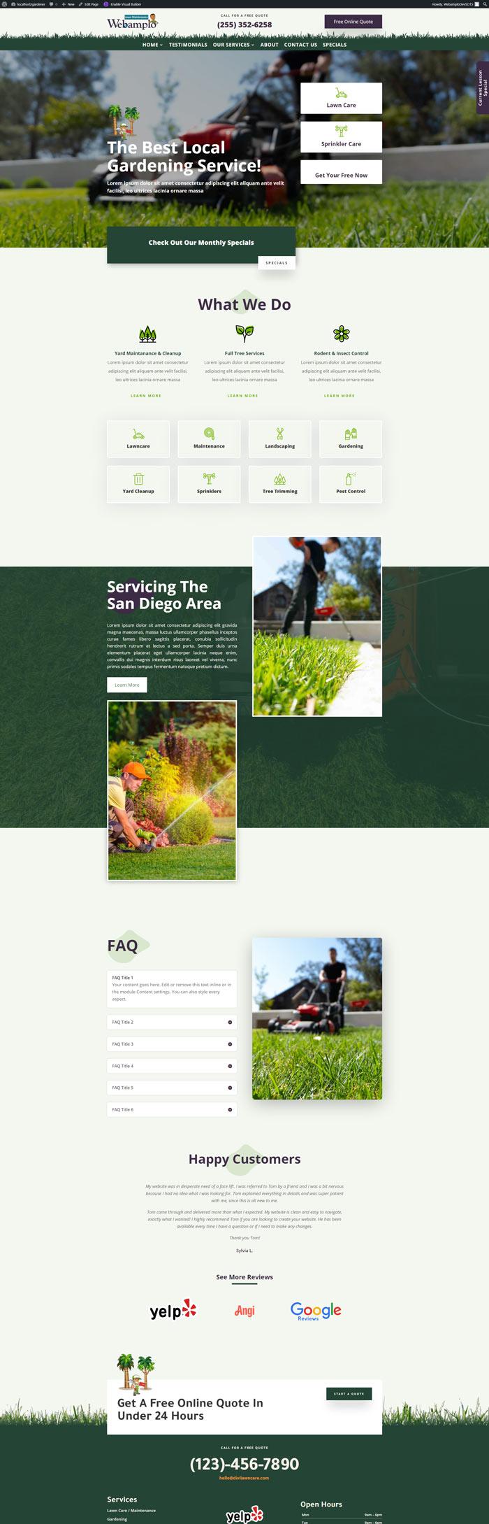Webamplo Landscape Gardner Website Package